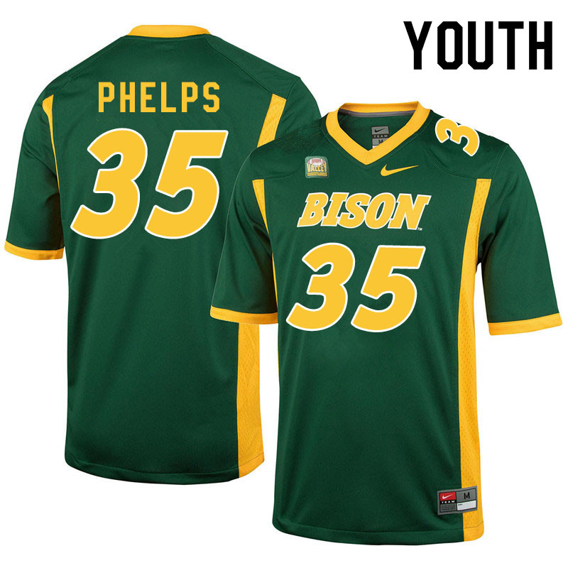 Youth #35 Nick Phelps North Dakota State Bison College Football Jerseys Sale-Green