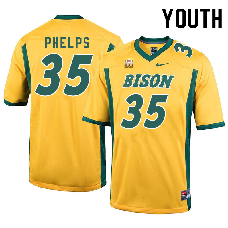 Youth #35 Nick Phelps North Dakota State Bison College Football Jerseys Sale-Yellow