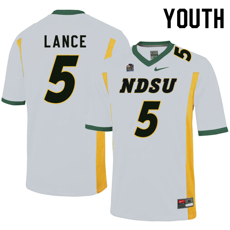 Youth #5 Trey Lance North Dakota State Bison College Football Jerseys Sale-White