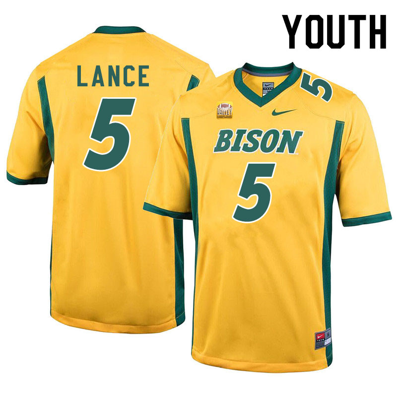 Youth #5 Trey Lance North Dakota State Bison College Football Jerseys Sale-Yellow