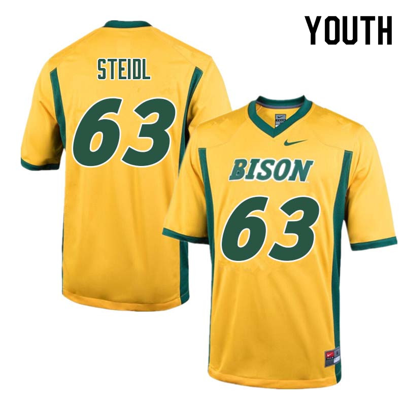 Youth #63 Aaron Steidl North Dakota State Bison College Football Jerseys Sale-Yellow