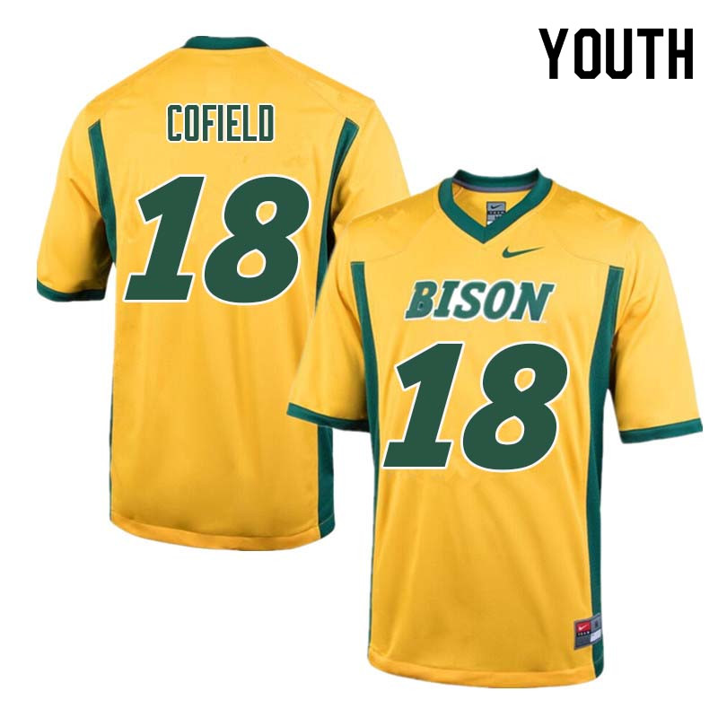 Youth #18 Adam Cofield North Dakota State Bison College Football Jerseys Sale-Yellow