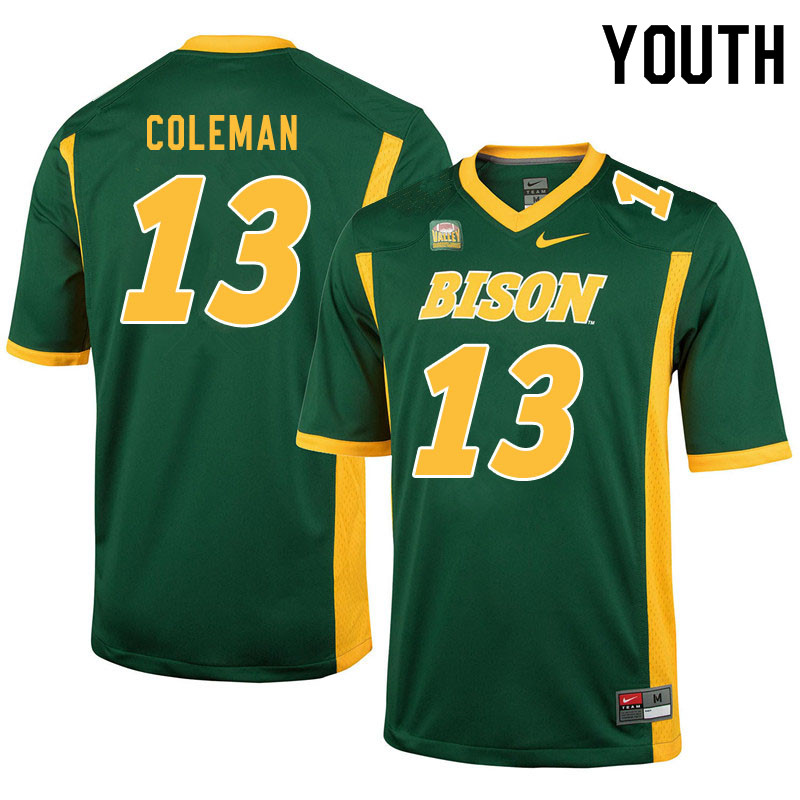 Youth #13 Anthony Coleman North Dakota State Bison College Football Jerseys Sale-Green