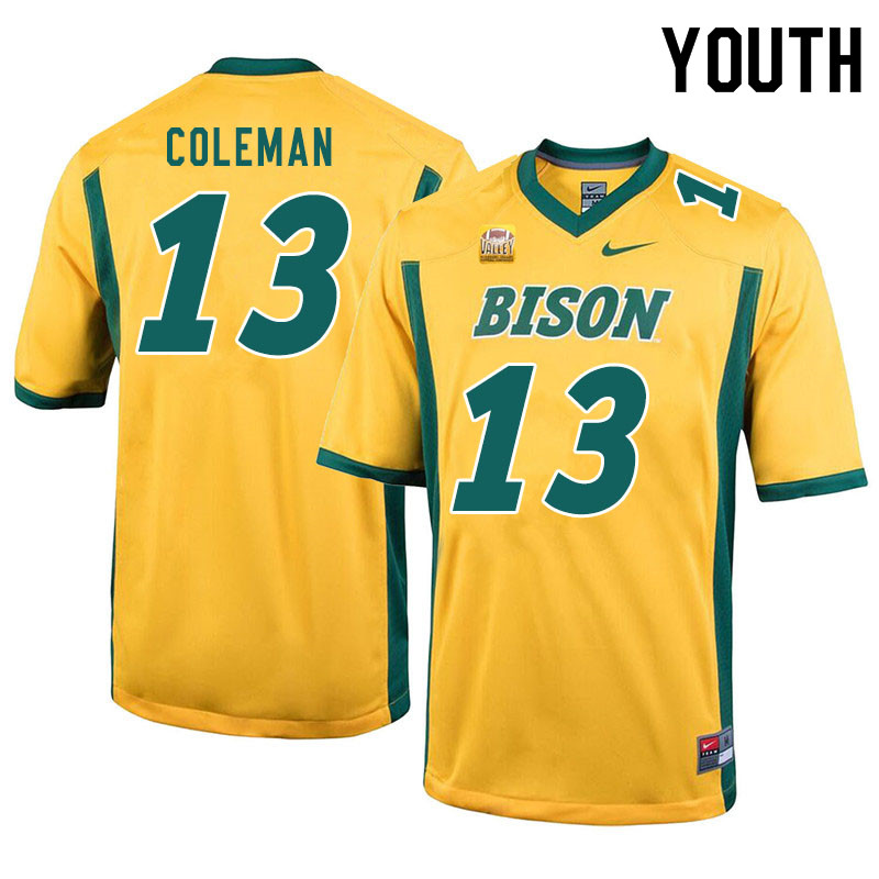 Youth #13 Anthony Coleman North Dakota State Bison College Football Jerseys Sale-Yellow