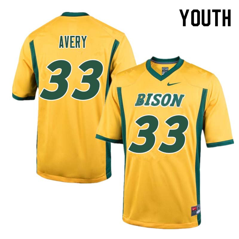 Youth #33 Austin Avery North Dakota State Bison College Football Jerseys Sale-Yellow
