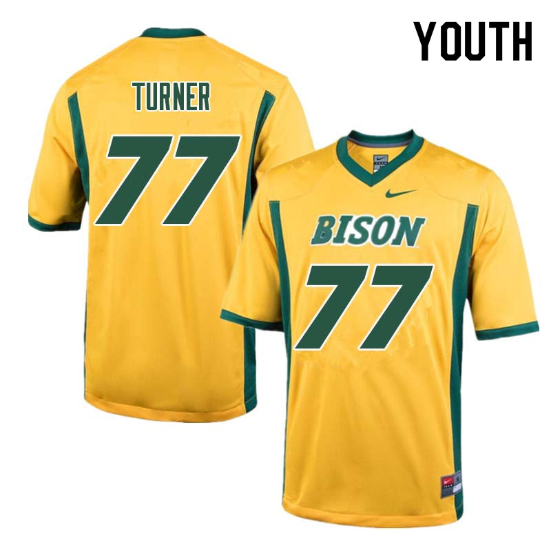 Youth #77 Billy Turner North Dakota State Bison College Football Jerseys Sale-Yellow