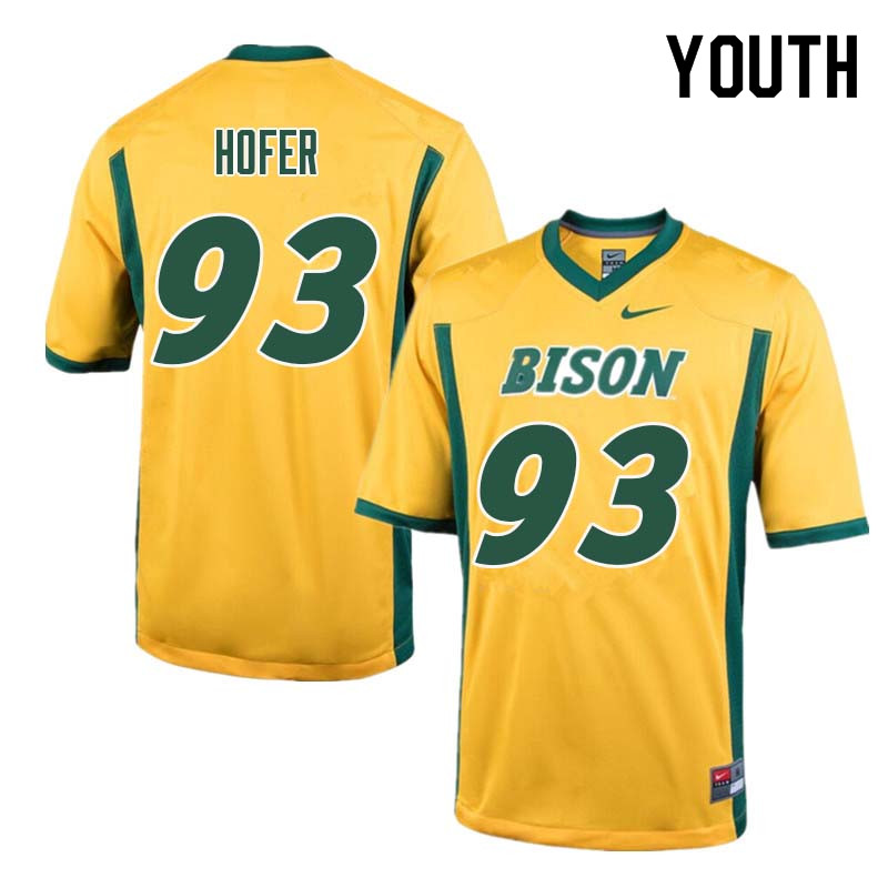 Youth #93 Caleb Hofer North Dakota State Bison College Football Jerseys Sale-Yellow