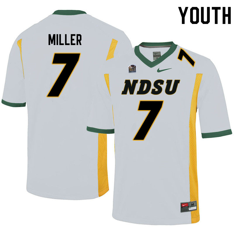 Youth #7 Cam Miller North Dakota State Bison College Football Jerseys Sale-White