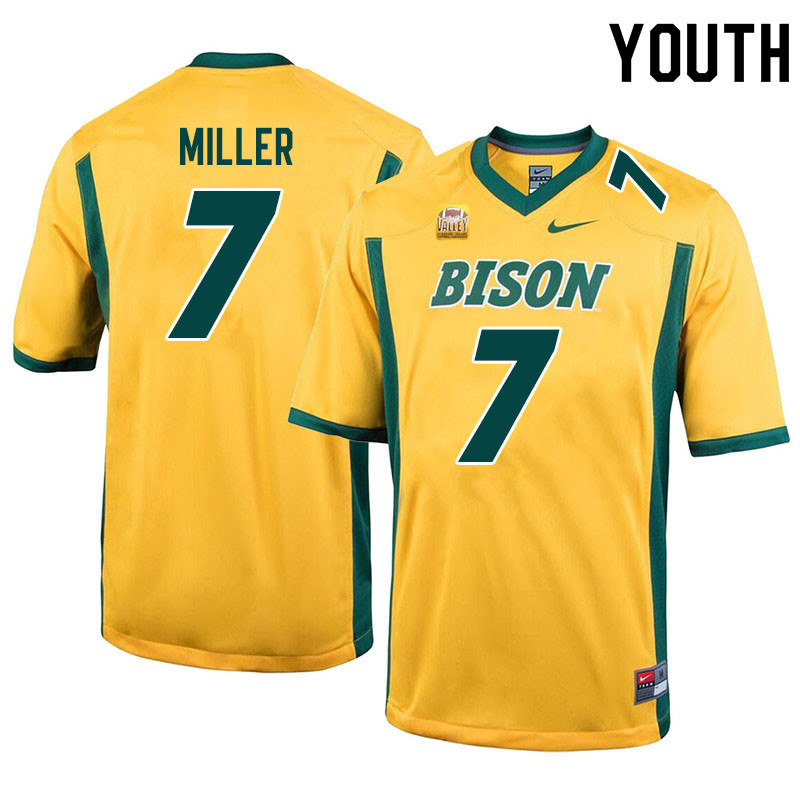 Youth #7 Cam Miller North Dakota State Bison College Football Jerseys Sale-Yellow
