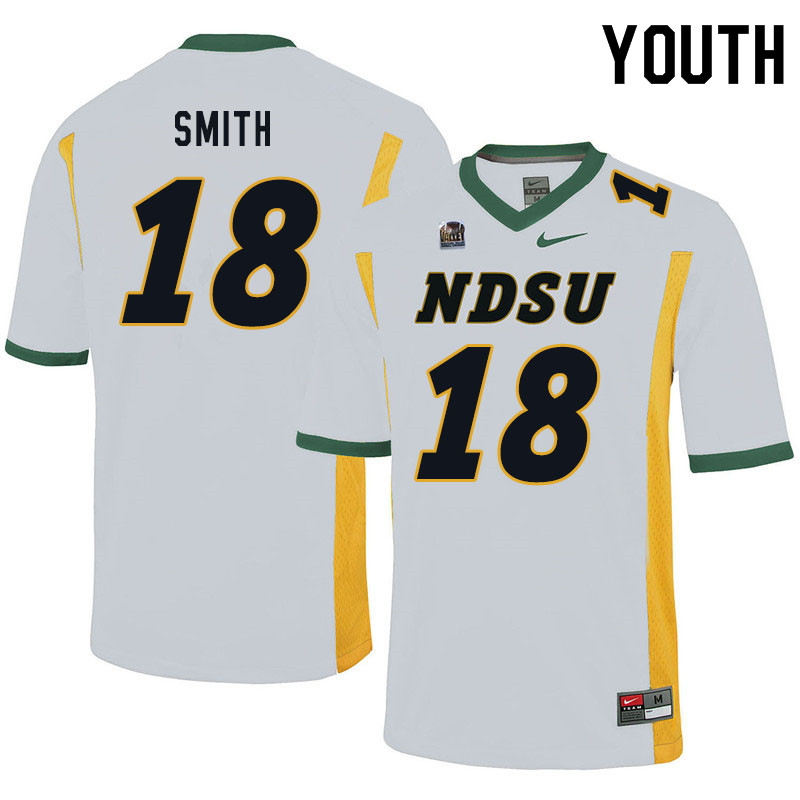 Youth #18 Cam Smith North Dakota State Bison College Football Jerseys Sale-White