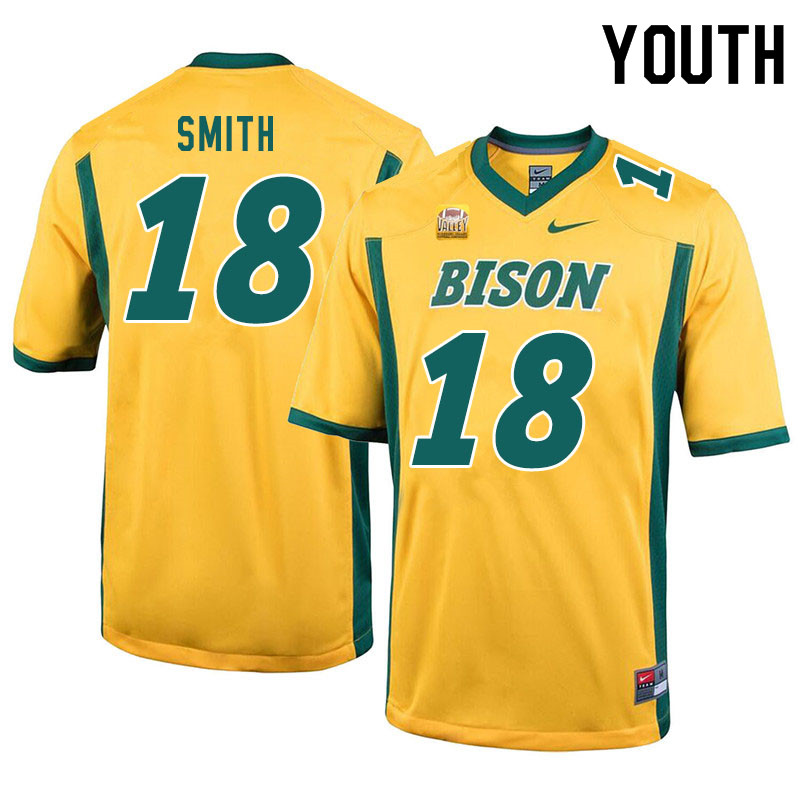 Youth #18 Cam Smith North Dakota State Bison College Football Jerseys Sale-Yellow
