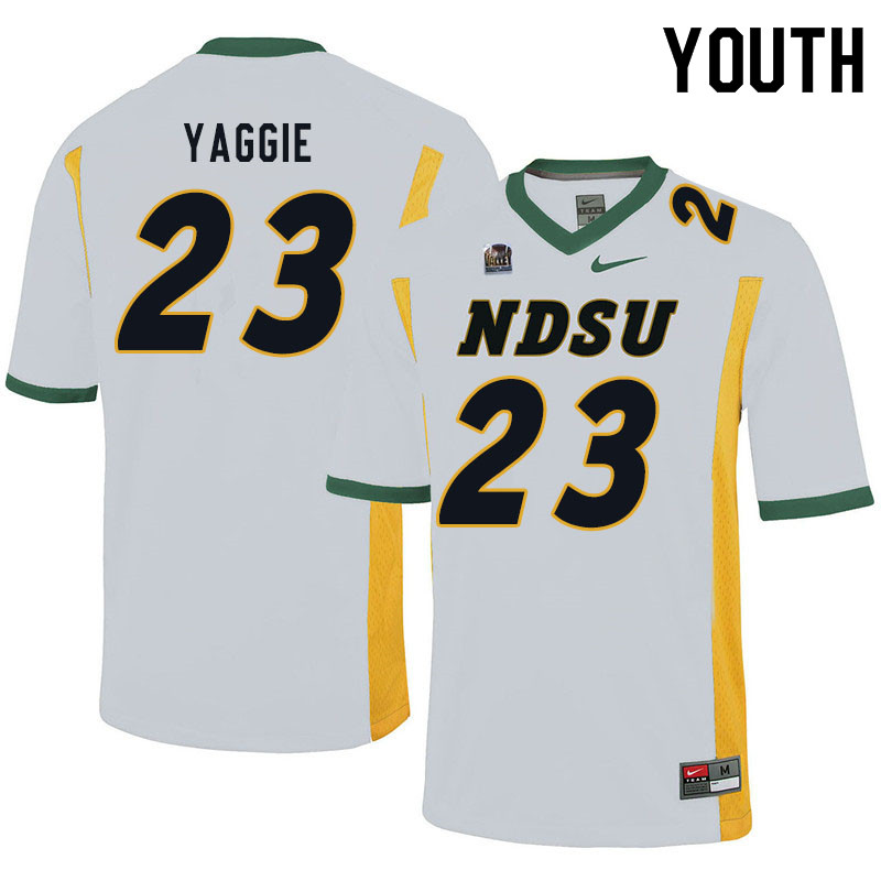 Youth #23 Carson Yaggie North Dakota State Bison College Football Jerseys Sale-White