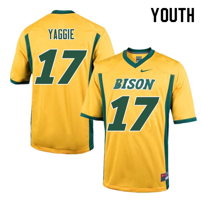 Youth #17 Carson Yaggie North Dakota State Bison College Football Jerseys Sale-Yellow