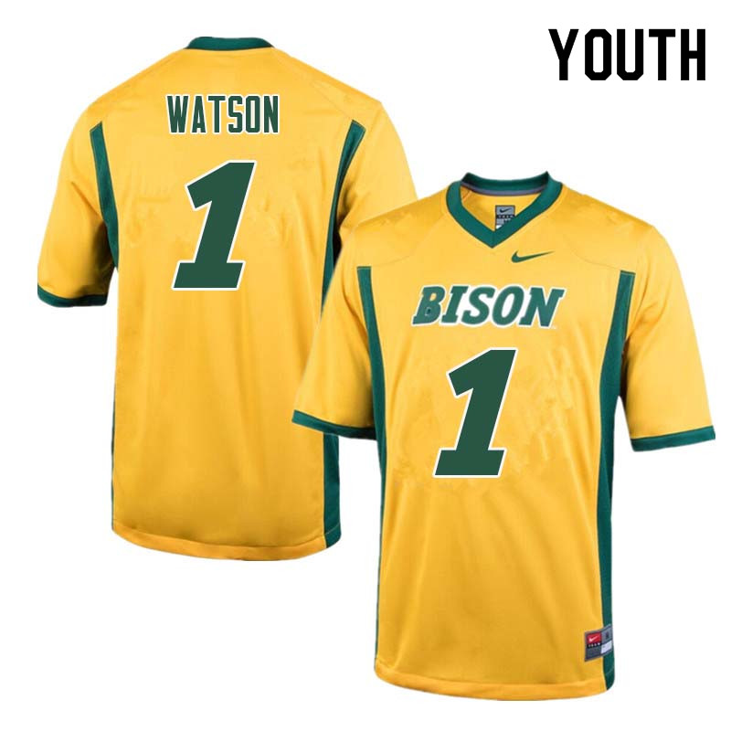 Youth #1 Christian Watson North Dakota State Bison College Football Jerseys Sale-Yellow