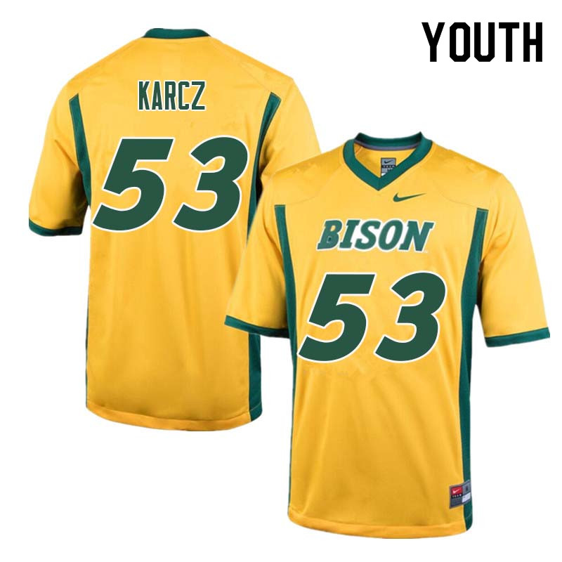 Youth #53 Cole Karcz North Dakota State Bison College Football Jerseys Sale-Yellow