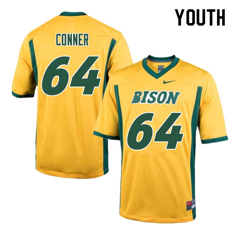 Youth #64 Colin Conner North Dakota State Bison College Football Jerseys Sale-Yellow