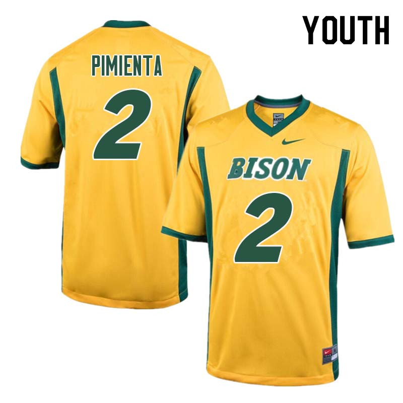 Youth #2 Cordell Pimienta North Dakota State Bison College Football Jerseys Sale-Yellow