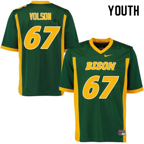 Youth #67 Cordell Volson North Dakota State Bison College Football Jerseys Sale-Green