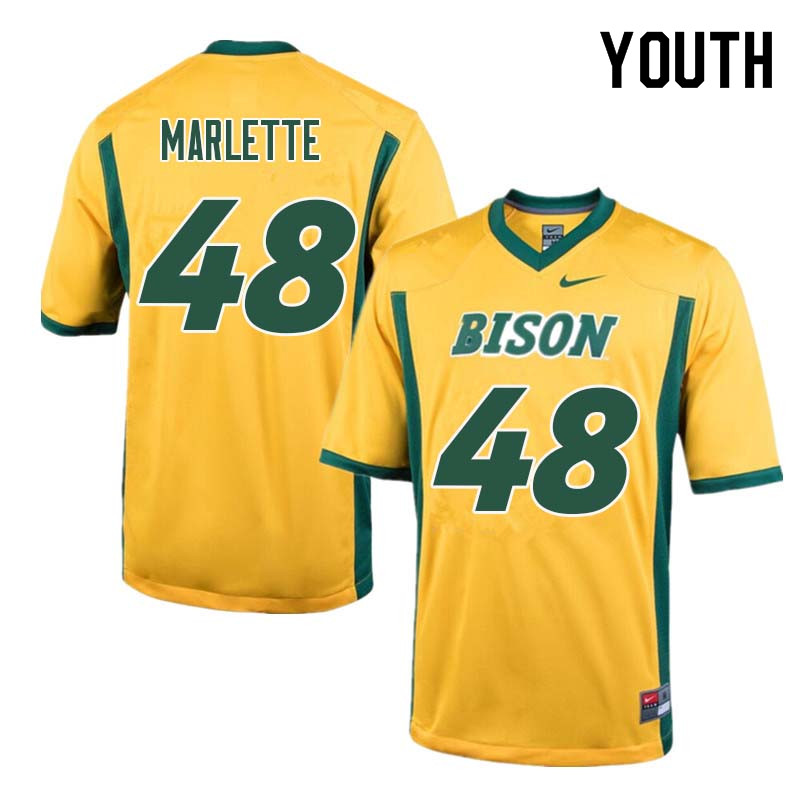 Youth #48 Dan Marlette North Dakota State Bison College Football Jerseys Sale-Yellow