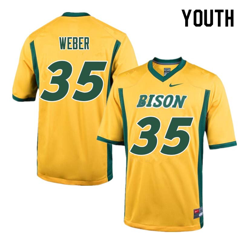 Youth #35 Dawson Weber North Dakota State Bison College Football Jerseys Sale-Yellow