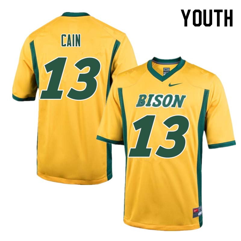 Youth #13 Desmond Cain North Dakota State Bison College Football Jerseys Sale-Yellow