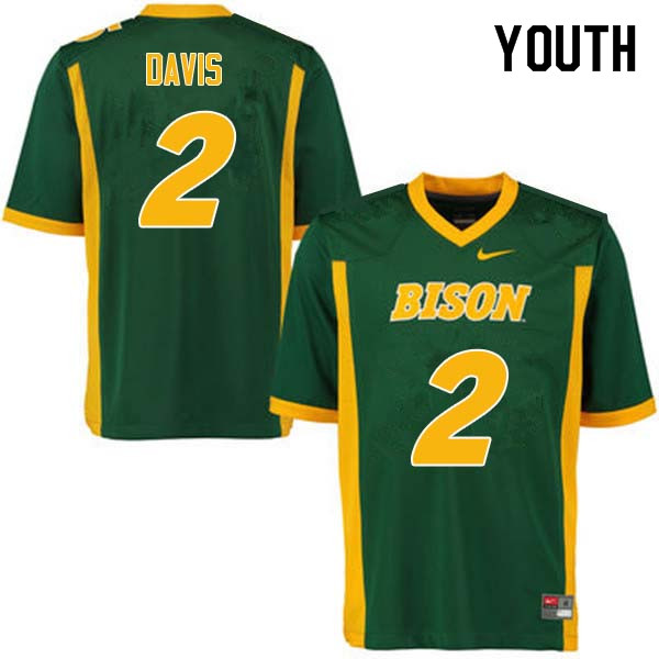 Youth #2 Dom Davis North Dakota State Bison College Football Jerseys Sale-Green