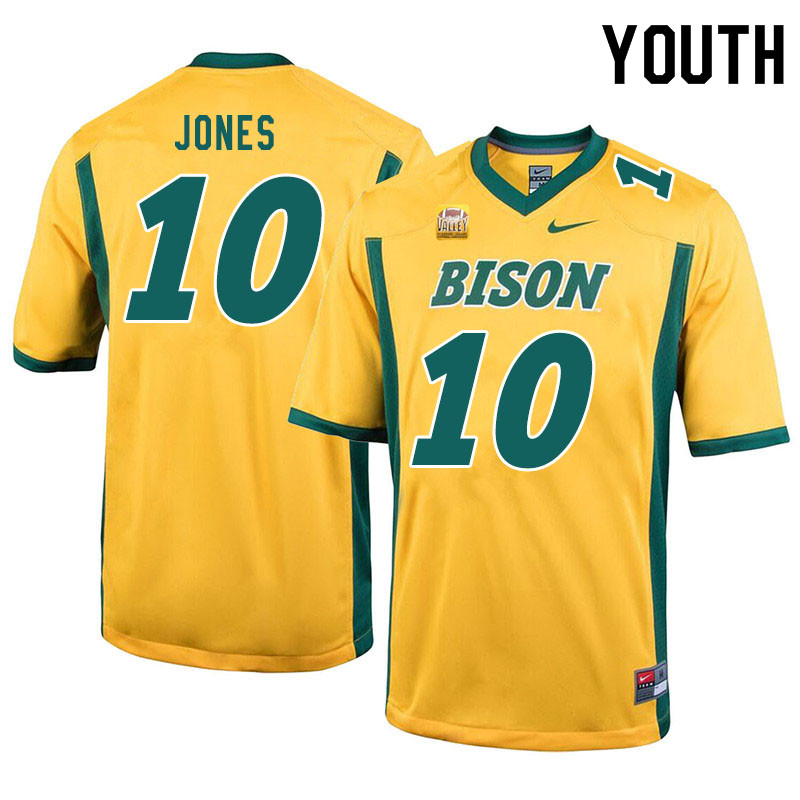 Youth #10 Dom Jones North Dakota State Bison College Football Jerseys Sale-Yellow