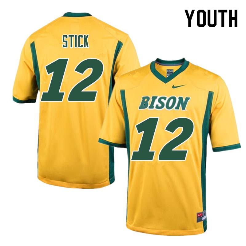 Youth #12 Easton Stick North Dakota State Bison College Football Jerseys Sale-Yellow