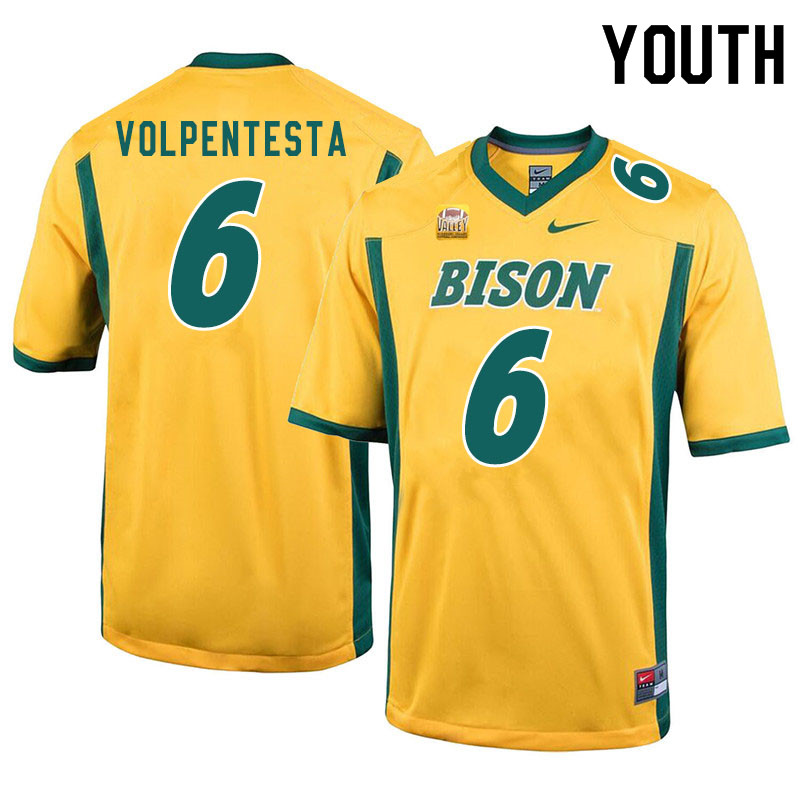 Youth #6 Giancarlo Volpentesta North Dakota State Bison College Football Jerseys Sale-Yellow