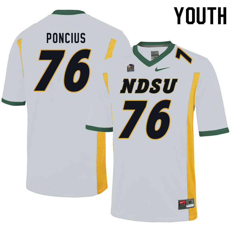 Youth #76 Hunter Poncius North Dakota State Bison College Football Jerseys Sale-White