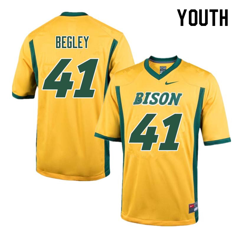Youth #41 Jack Begley North Dakota State Bison College Football Jerseys Sale-Yellow