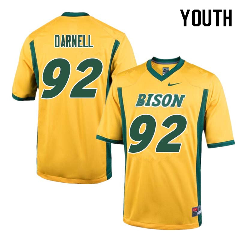 Youth #92 Jack Darnell North Dakota State Bison College Football Jerseys Sale-Yellow