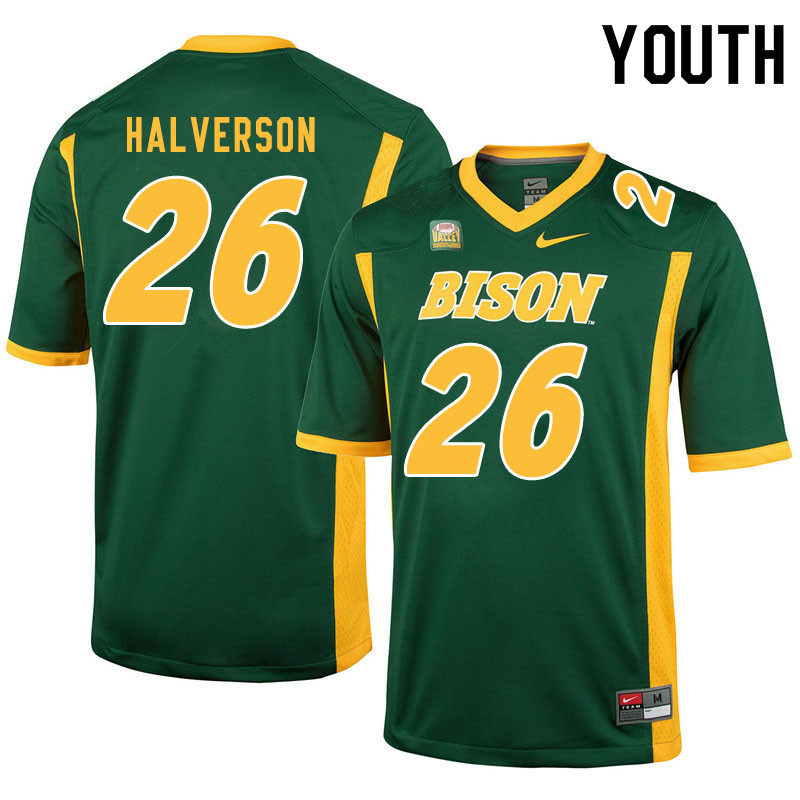 Youth #26 Jacob Halverson North Dakota State Bison College Football Jerseys Sale-Green