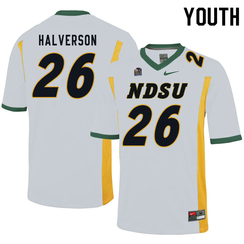 Youth #26 Jacob Halverson North Dakota State Bison College Football Jerseys Sale-White