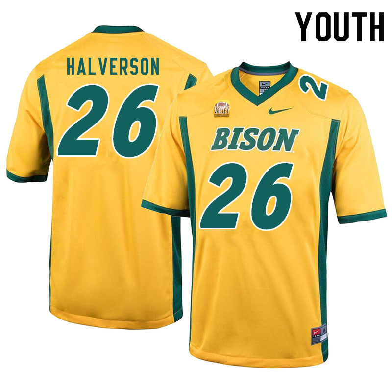 Youth #26 Jacob Halverson North Dakota State Bison College Football Jerseys Sale-Yellow