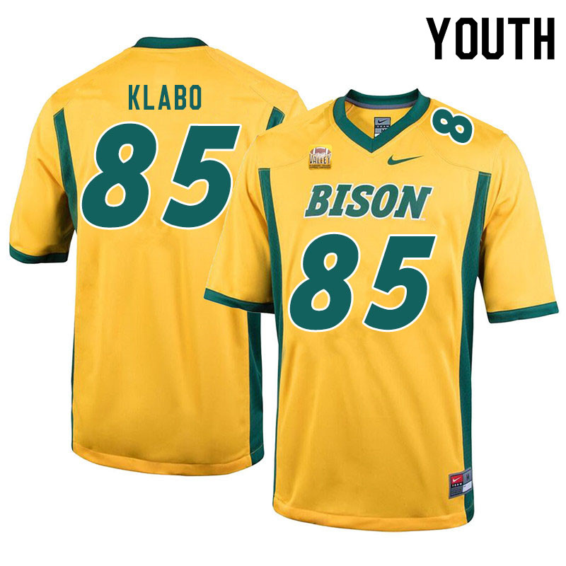 Youth #85 Jaden Klabo North Dakota State Bison College Football Jerseys Sale-Yellow