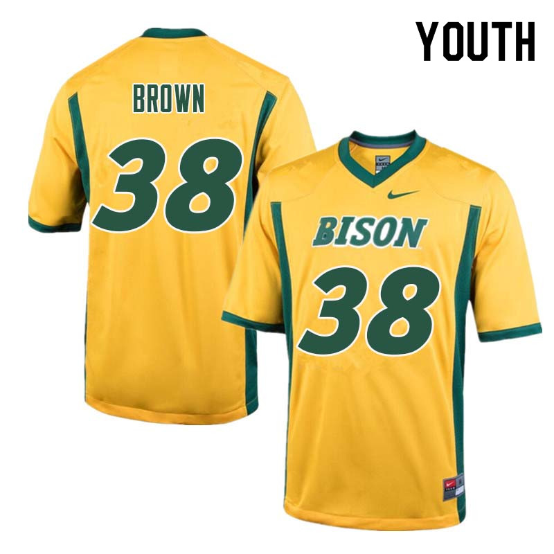 Youth #38 Jaxon Brown North Dakota State Bison College Football Jerseys Sale-Yellow