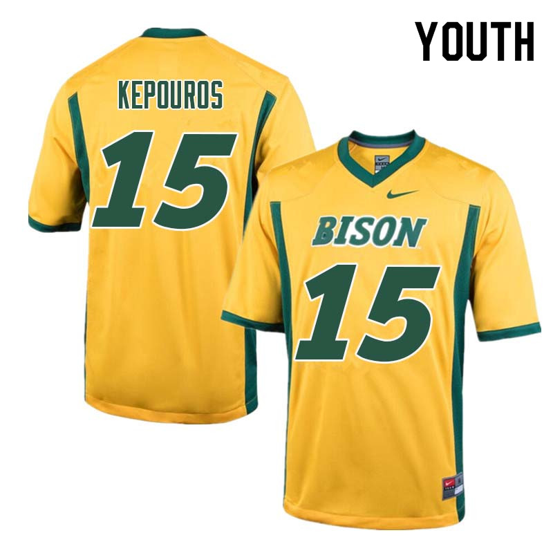 Youth #15 Jimmy Kepouros North Dakota State Bison College Football Jerseys Sale-Yellow