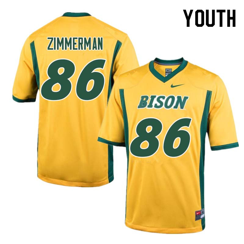 Youth #86 Jonah Zimmerman North Dakota State Bison College Football Jerseys Sale-Yellow