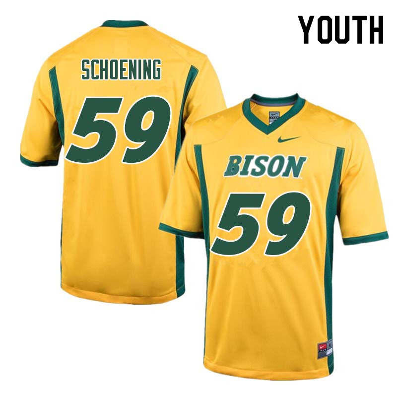 Youth #59 Karson Schoening North Dakota State Bison College Football Jerseys Sale-Yellow