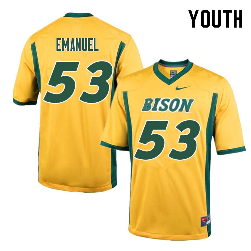 Youth #53 Kyle Emanuel North Dakota State Bison College Football Jerseys Sale-Yellow