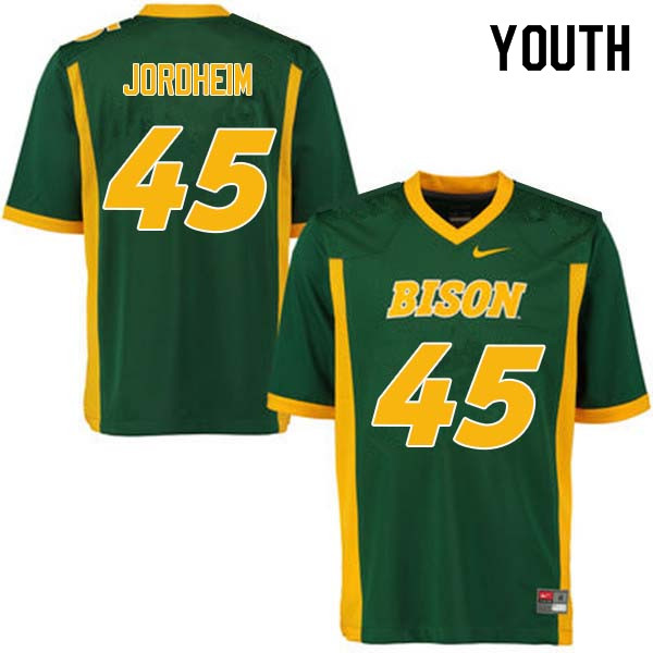 Youth #45 Levi Jordheim North Dakota State Bison College Football Jerseys Sale-Green