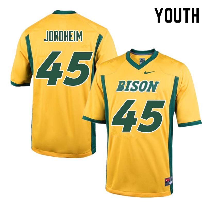 Youth #45 Levi Jordheim North Dakota State Bison College Football Jerseys Sale-Yellow