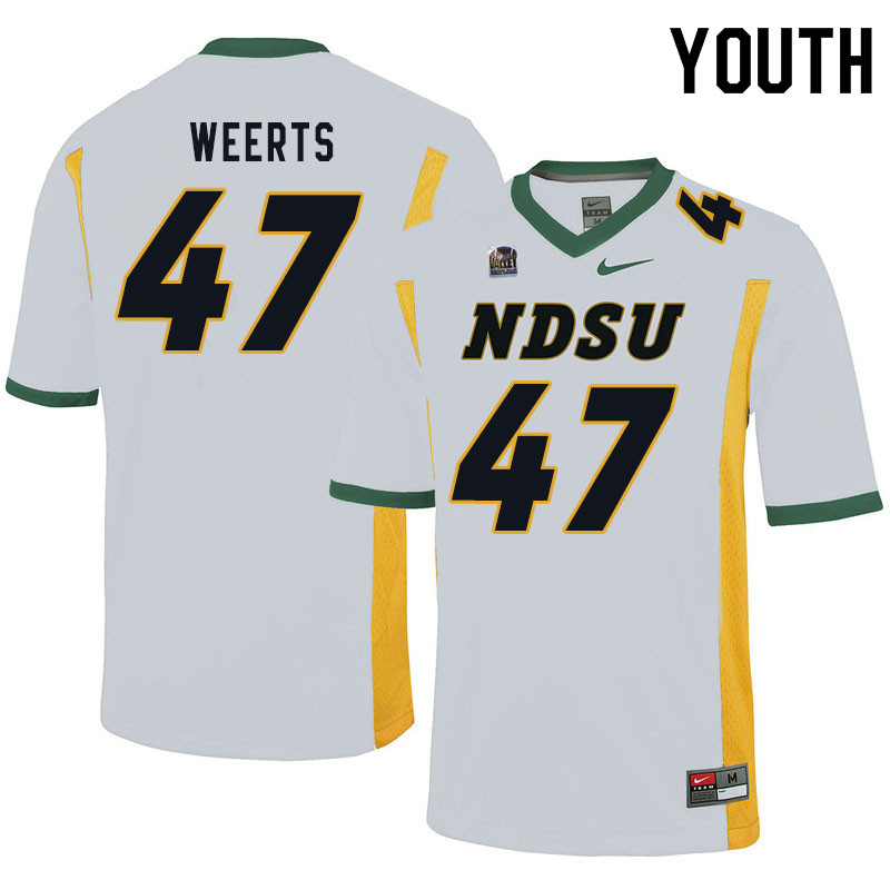 Youth #47 Luke Weerts North Dakota State Bison College Football Jerseys Sale-White