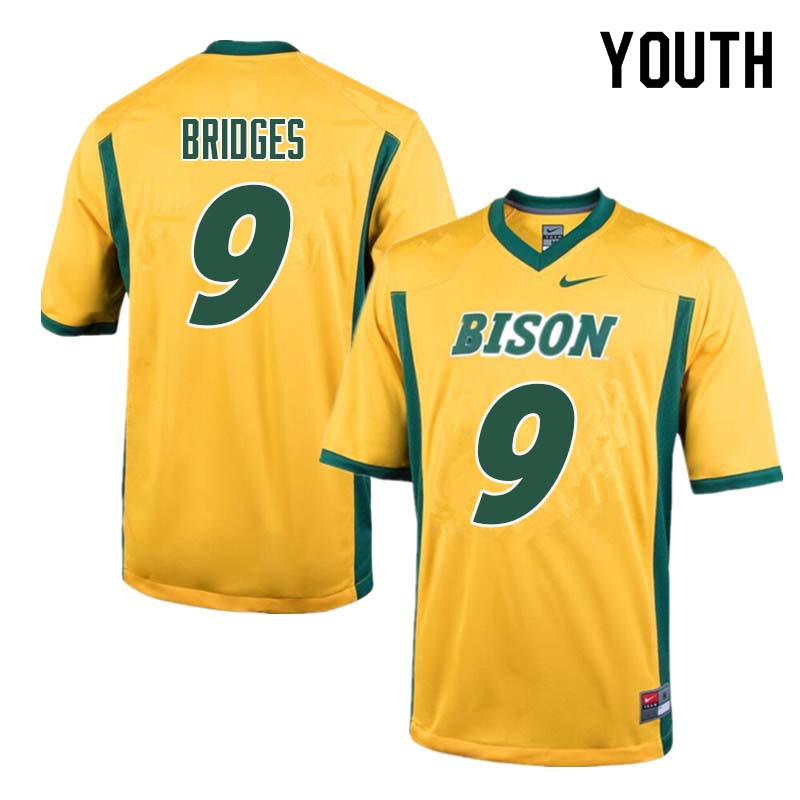 Youth #9 Marquise Bridges North Dakota State Bison College Football Jerseys Sale-Yellow