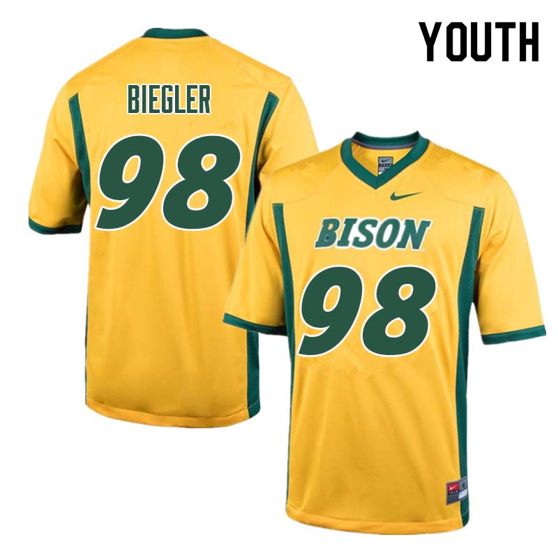 Youth #98 Matt Biegler North Dakota State Bison College Football Jerseys Sale-Yellow