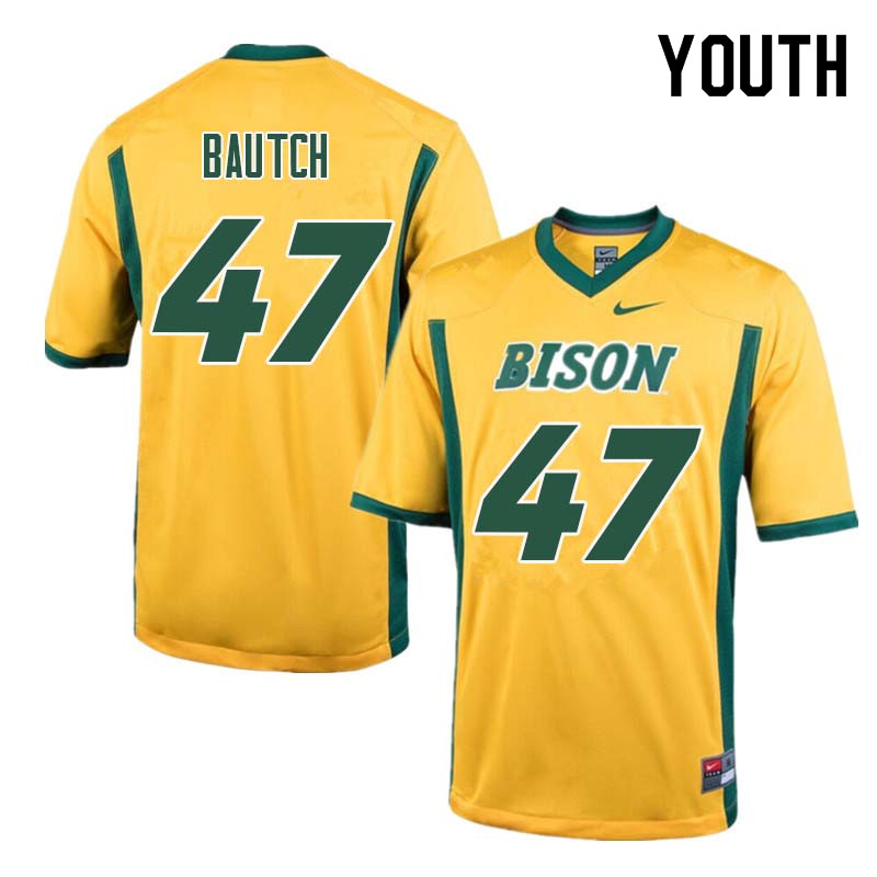 Youth #47 Max Bautch North Dakota State Bison College Football Jerseys Sale-Yellow