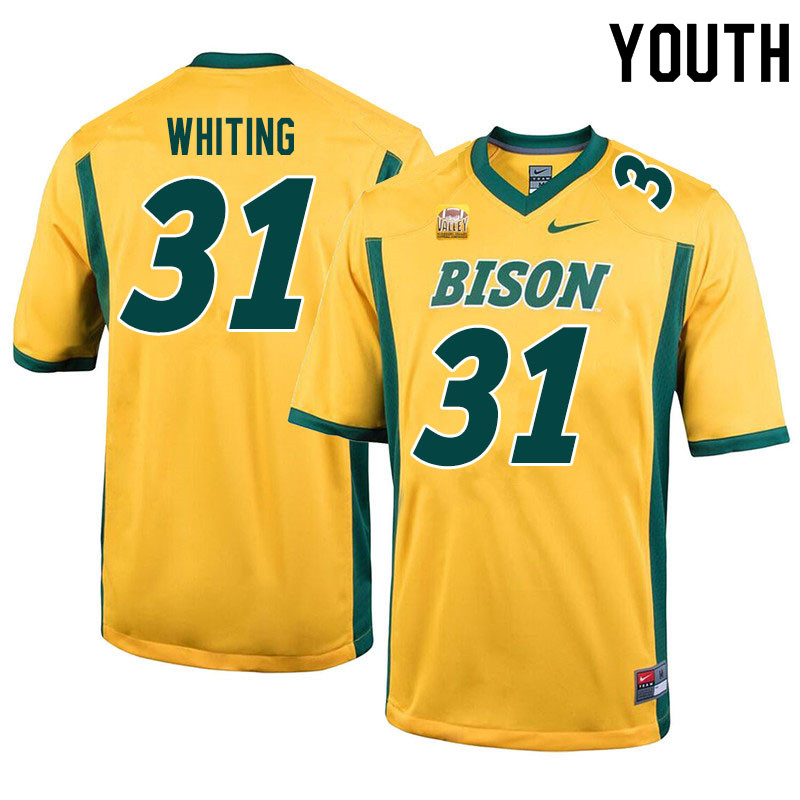 Youth #31 Nathan Whiting North Dakota State Bison College Football Jerseys Sale-Yellow
