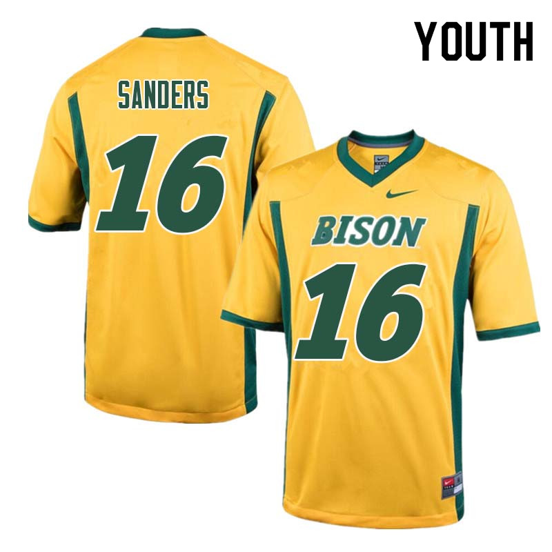 Youth #16 Noah Sanders North Dakota State Bison College Football Jerseys Sale-Yellow