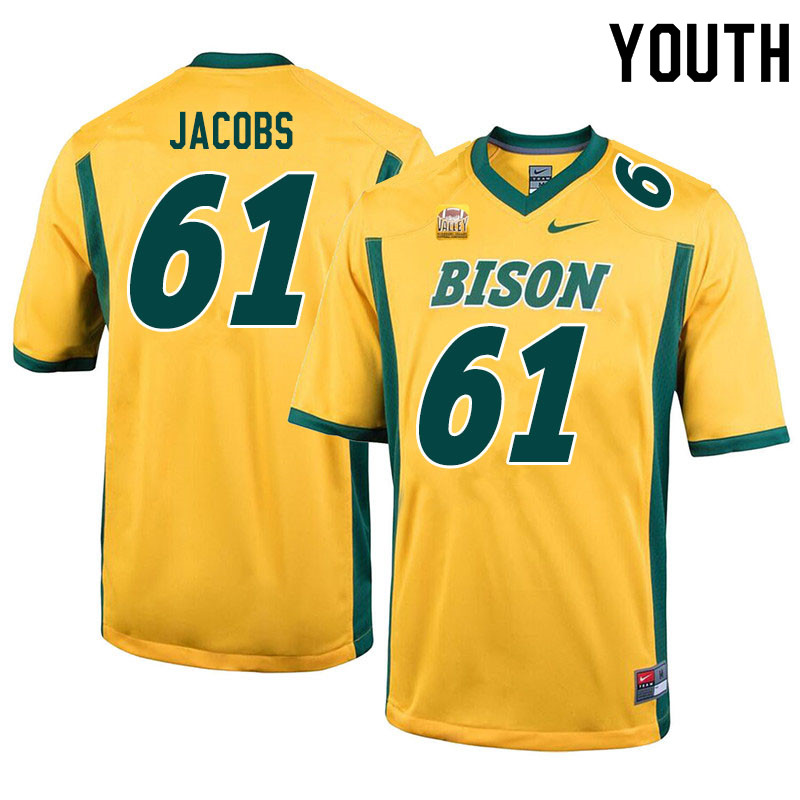 Youth #61 Nolan Jacobs North Dakota State Bison College Football Jerseys Sale-Yellow